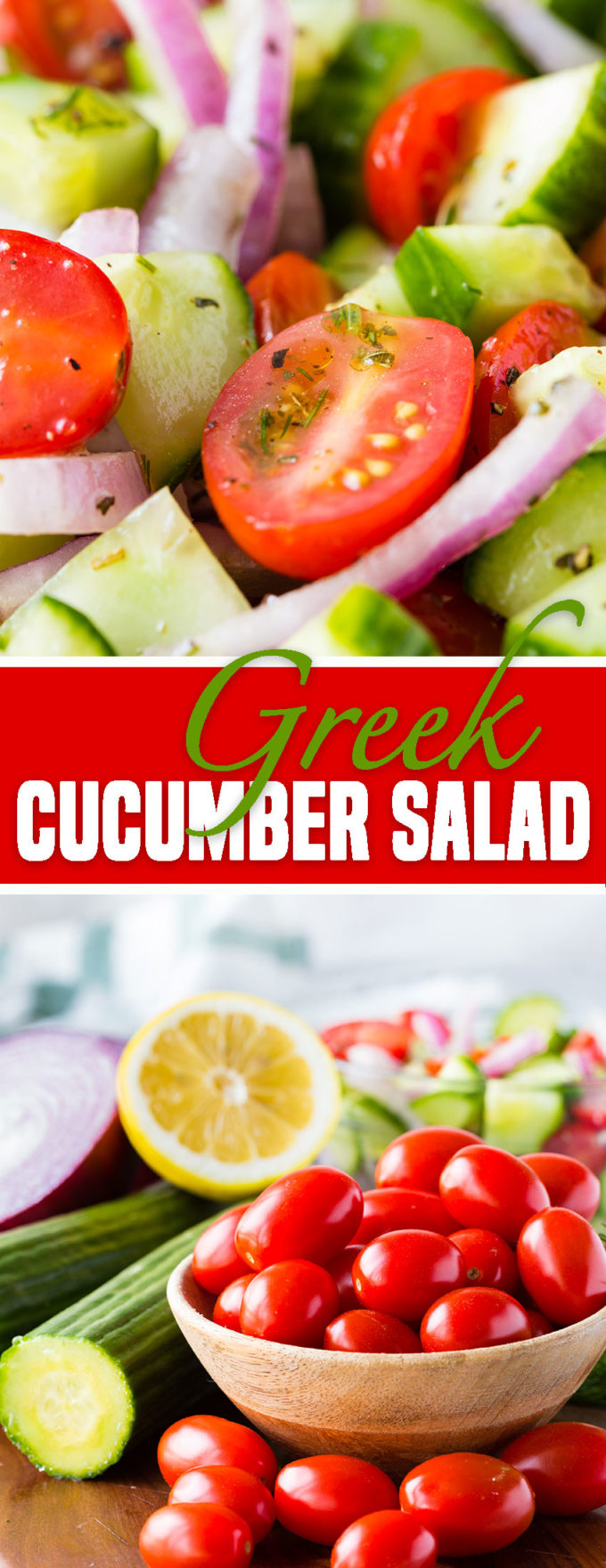 Greek Cucumber Salad - tomato, cucumber, and red onions in a greek dressing