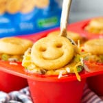 Mini Shepherd's Pie cups topped with McCain Smiles mashed potatoes instead of traditional