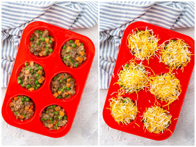 Shepherd's Pie made in muffin tins