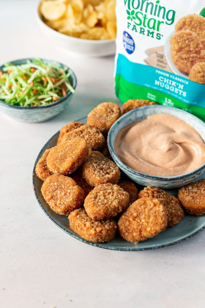 Plant based chicken nuggets, with a fantastic dipping sauce