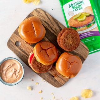 MorningStar Farms chicken patties and delicious sauce