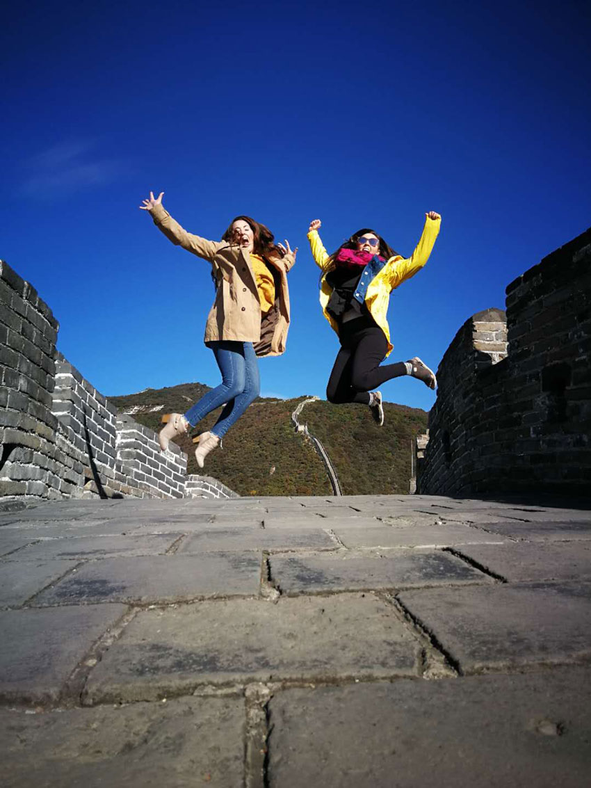 Jumping for Joy at the Great Wall of China