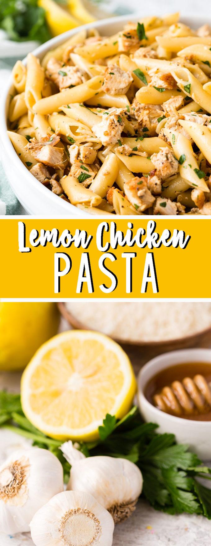 Delicious lemon chicken pasta, full of lemony chicken, fresh herbs, and more. Yum!