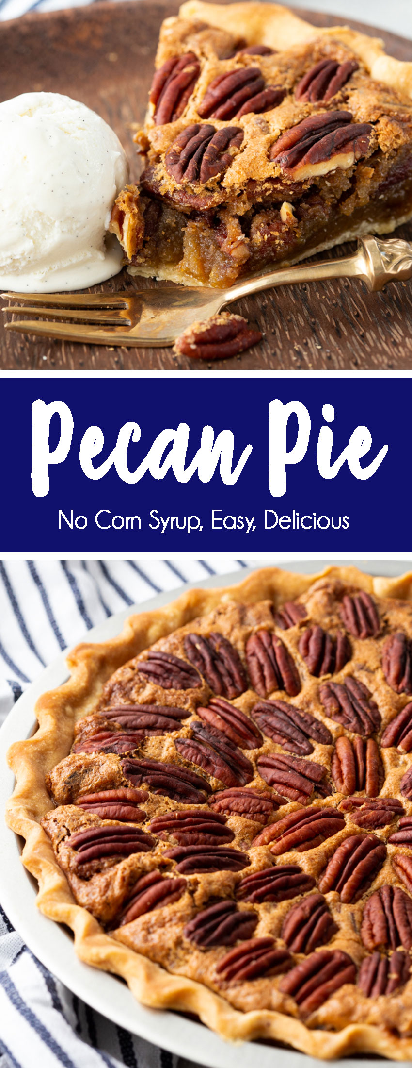the BEST EVER pecan pie with no corn syrup, and a rich, buttery, sugary filling, and toasted pecans