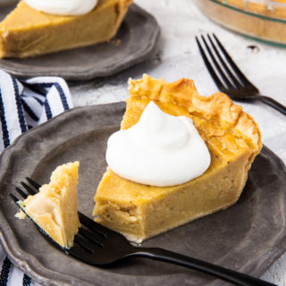 Sweet Potato Pie, a classic Thanksgiving pie that is lightly spiced, easy to slice, and has a rich, buttery crust