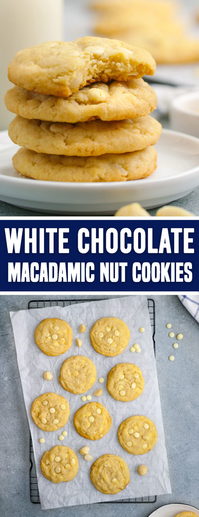 The ultimate white chocolate macadamia nut cookies with crisp outside and chewy interior.