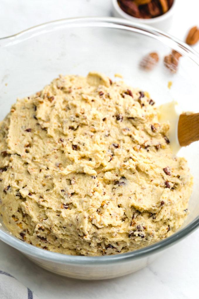 Pecan Sandies dough, loaded with pecan chips