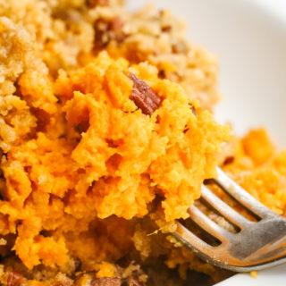 Sweet potato casserole close up on a fork
