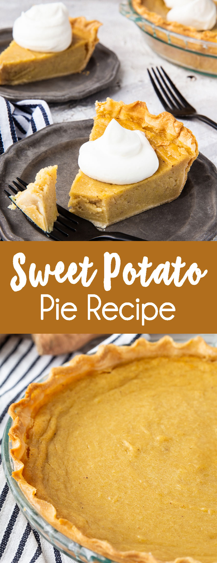 Sweet potato pie, a classic pie that is slightly spiced, cuts beautifully, and has a silky smooth filling.