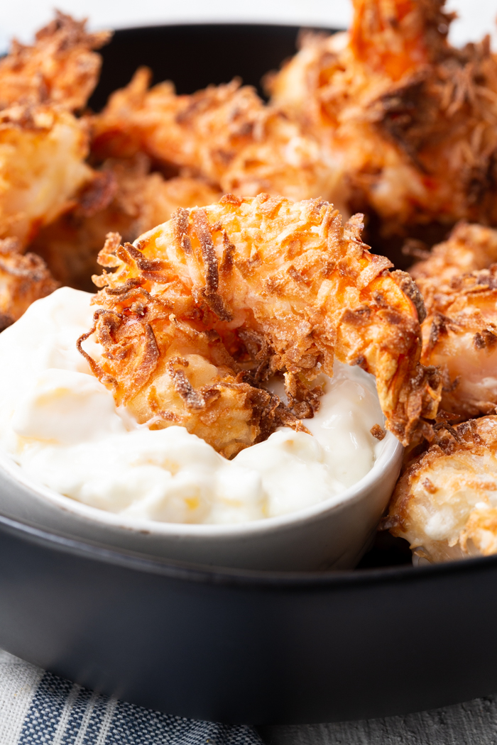 Air fryer coconut shrimp- the crispy coconut shrimp that is like you deep fried it, but without the extra oil and calories.