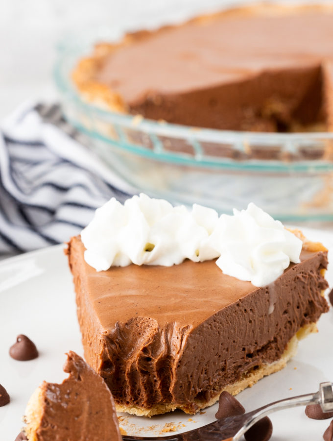 Chocolate pie, with a nice fork full of pie