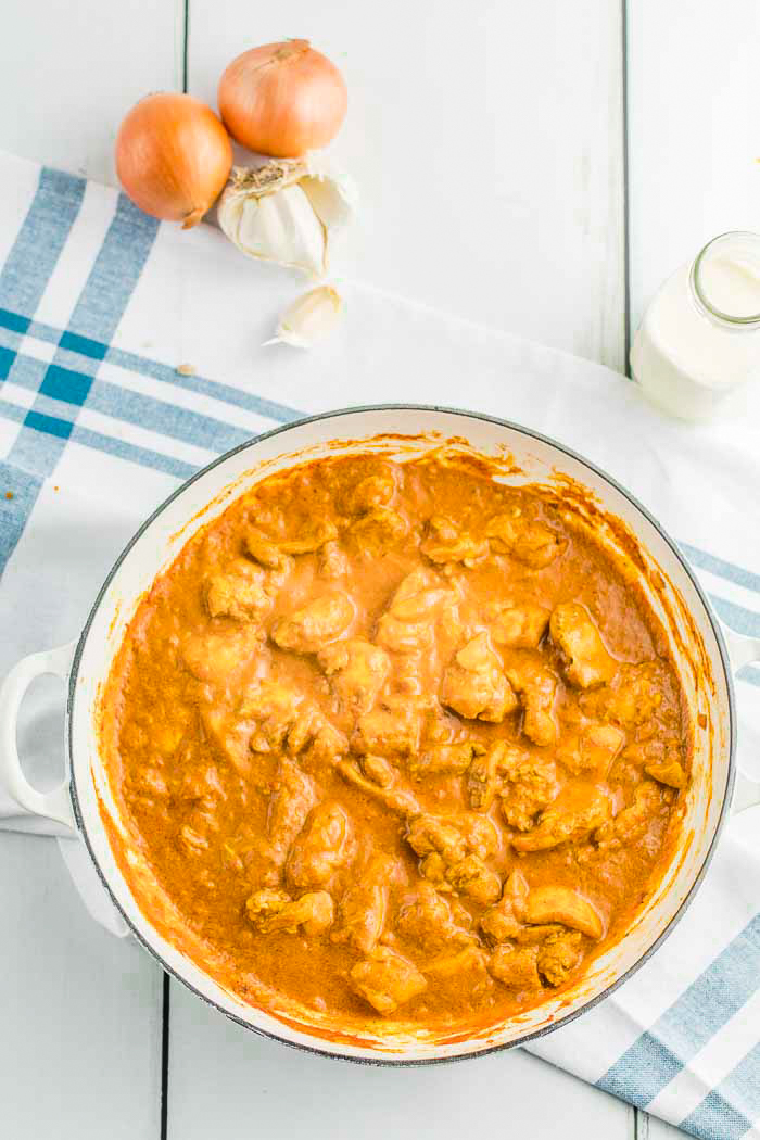 Indian Butter Chicken, low carb and keto friendly, simmering with spices and tomato