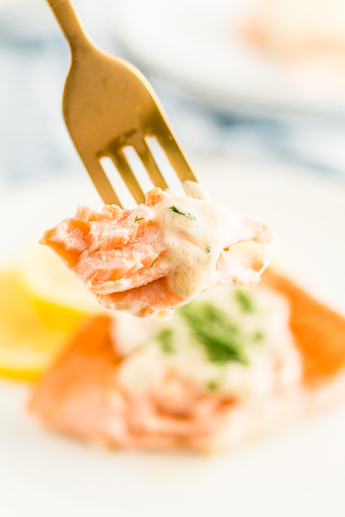 A fork full of salmon made with a creamy lemon dill sauce