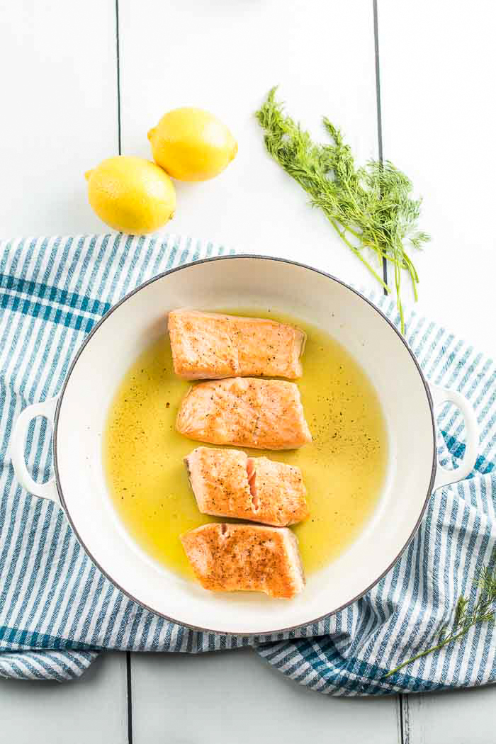 Step three in this salmon recipe is sear that salmon and give it a nice golden crispy exterior