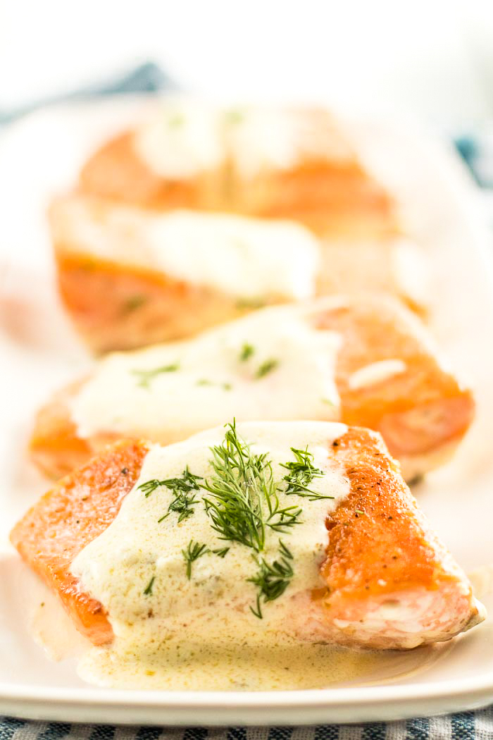 Keto friendly, salmon recipe with a creamy lemon dill sauce