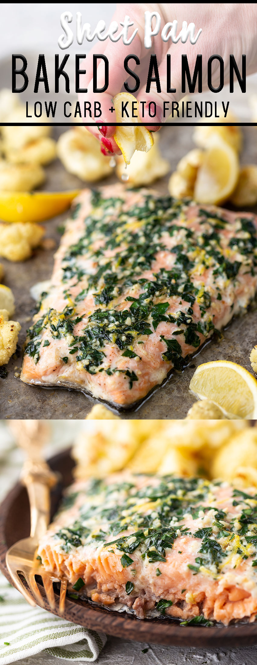 Sheet pan baked salmon with lemon and parsley.