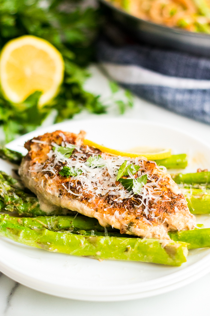 Creamy lemon chicken and asparagus a low carb, keto friendly meal that is delicious!
