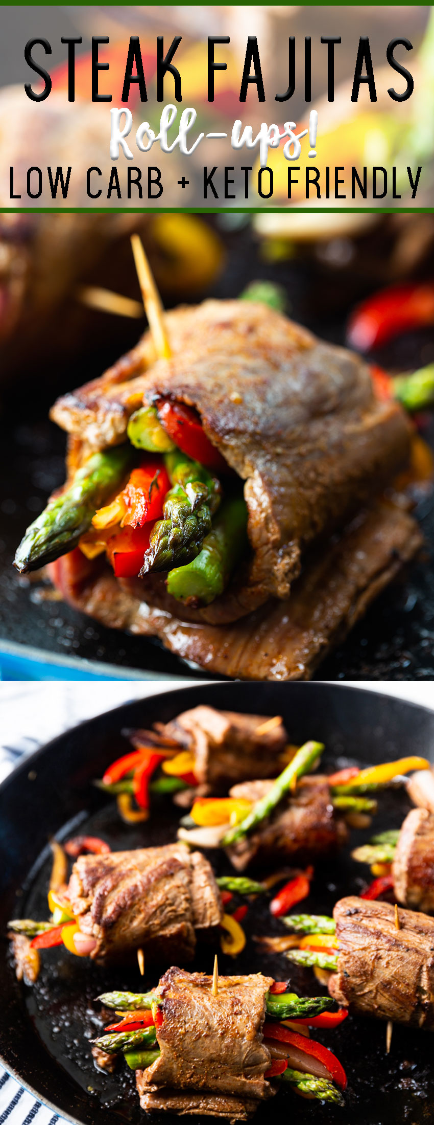 Steak Fajitas roll ups are low carb and keto friendly, packed with flavor, and so easy to make. Whenever I make these they disappear so quickly.