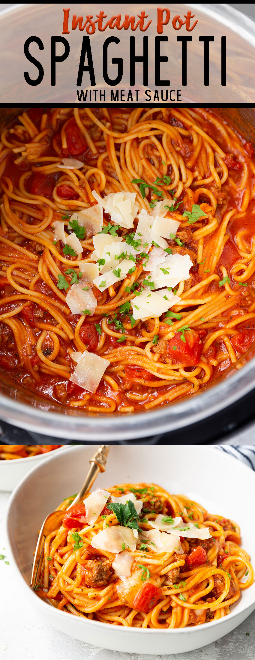 Spaghetti and meat sauce cooked in the instant pot