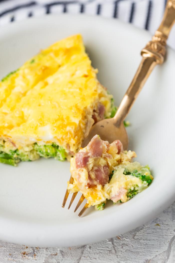 Ham and cheese quiche, crustless