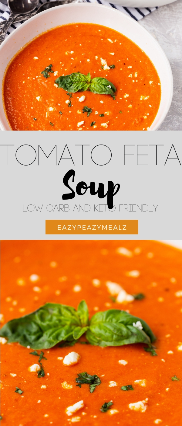 Low carb or keto tomato soup with feta cheese and basil