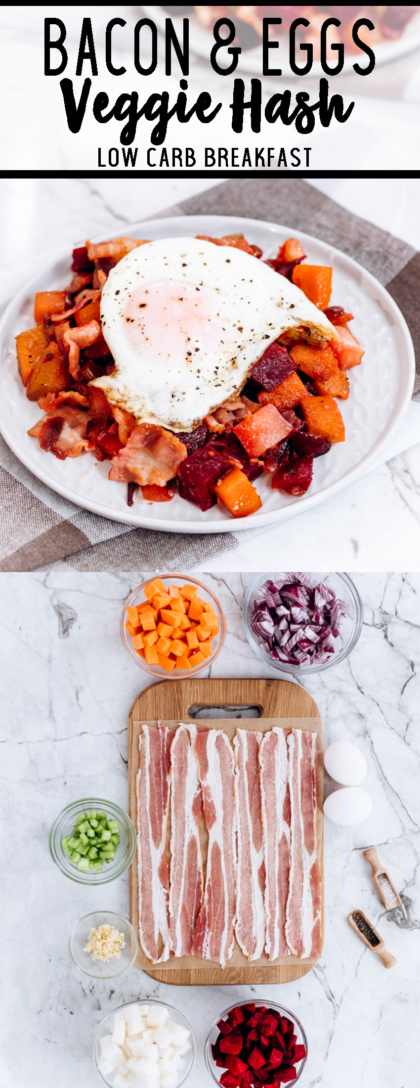 Bacon and egg veggie hash a great low carb breakfast