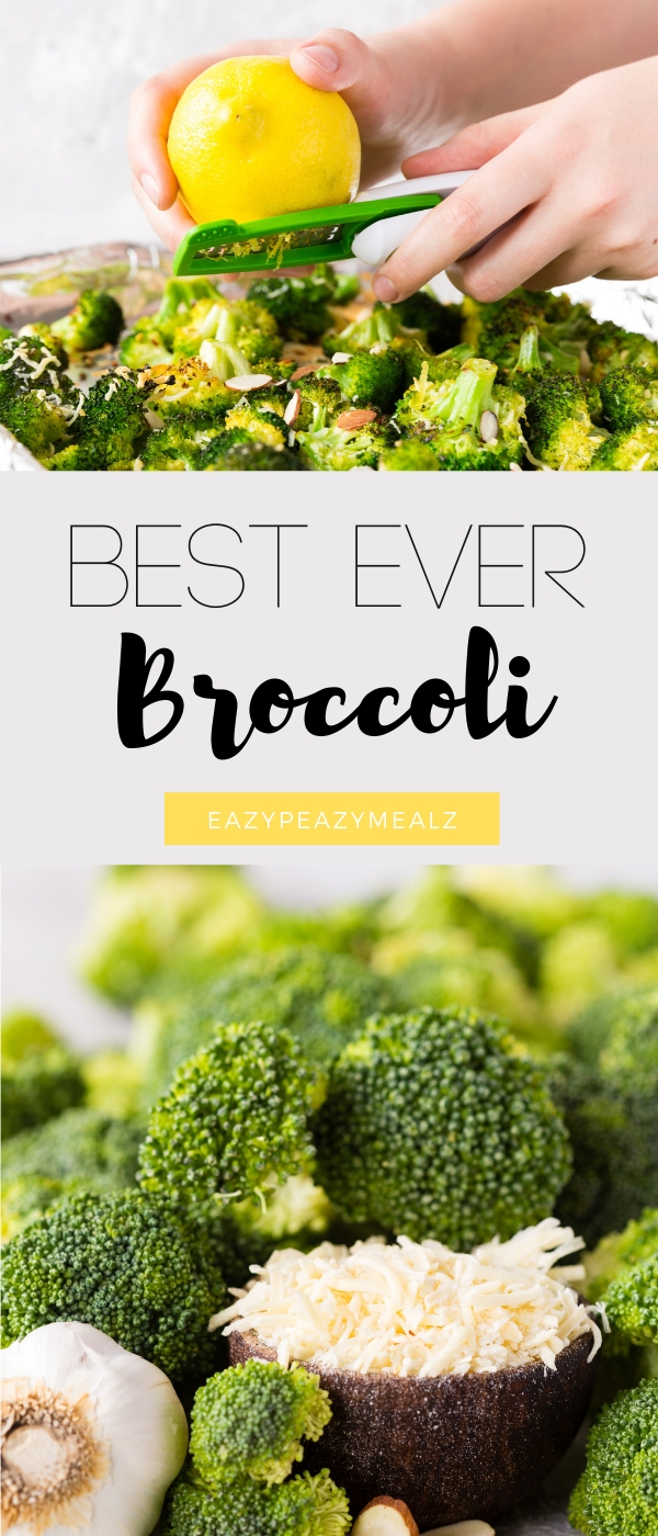 A delicious broccoli roasted in the oven with lemon and parmesan