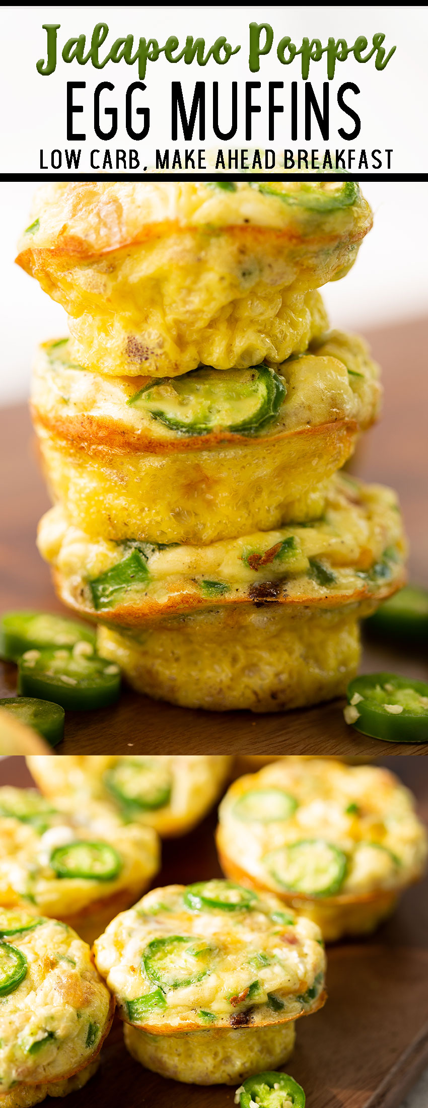 Jalapeno popper egg muffins in a stack