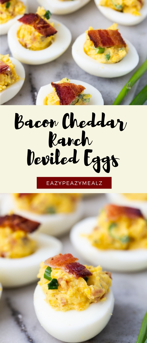 Low carb and delicious this BACON CHEDDAR RANCH DEVILE EGGS are bomb. Creamy deviled egg filling with bacon!
