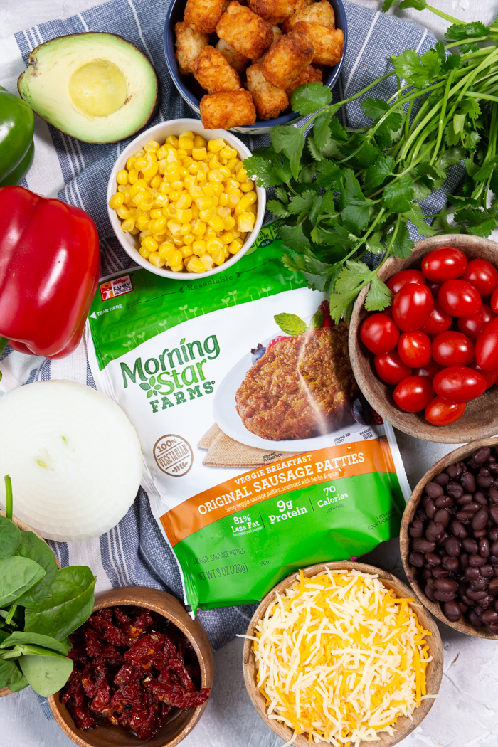 All the ingredients for breakfast burritos