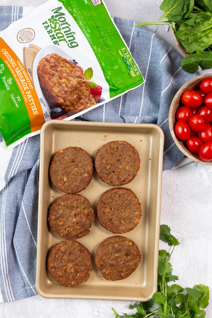 6 morningstar farms sausage patties on a tray