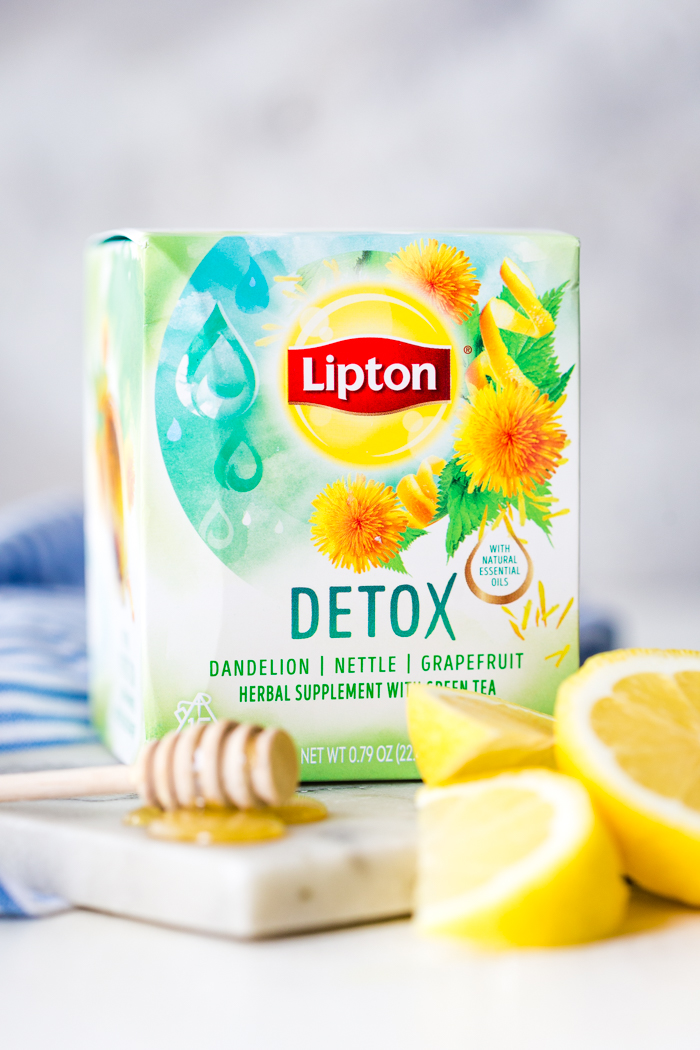 A package of Lipton Herbal Detox tea with honey and lemon