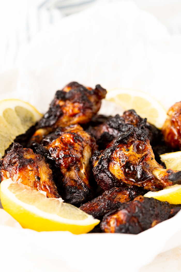 A basket of marinated chicken wings after being cooked