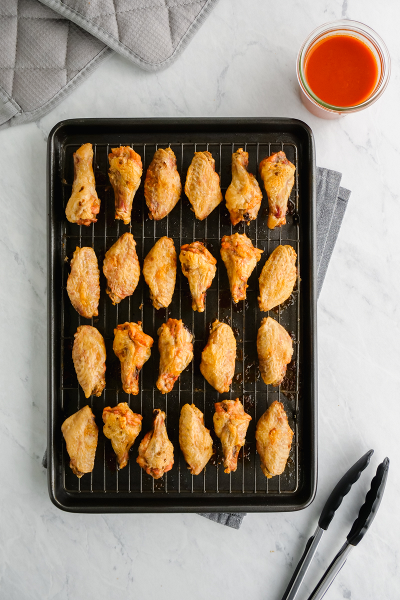 Chicken wings after they are baked